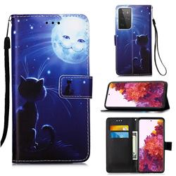 Cat and Moon Matte Leather Wallet Phone Case for Samsung Galaxy S21 Ultra