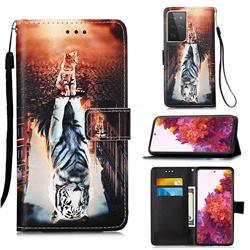 Cat and Tiger Matte Leather Wallet Phone Case for Samsung Galaxy S21 Ultra