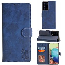 Embossing Happy Cat Leather Wallet Case for Samsung Galaxy S21 Ultra - Blue