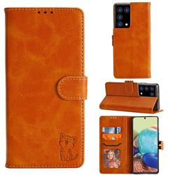 Embossing Happy Cat Leather Wallet Case for Samsung Galaxy S21 Ultra - Yellow