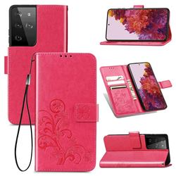 Embossing Imprint Four-Leaf Clover Leather Wallet Case for Samsung Galaxy S21 Ultra - Rose Red