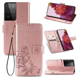 Embossing Imprint Four-Leaf Clover Leather Wallet Case for Samsung Galaxy S21 Ultra - Rose Gold