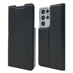 Ultra Slim Card Magnetic Automatic Suction Leather Wallet Case for Samsung Galaxy S21 Ultra - Star Grey