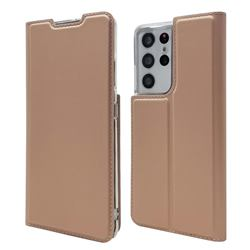 Ultra Slim Card Magnetic Automatic Suction Leather Wallet Case for Samsung Galaxy S21 Ultra - Rose Gold