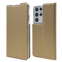 Ultra Slim Card Magnetic Automatic Suction Leather Wallet Case for Samsung Galaxy S21 Ultra - Champagne