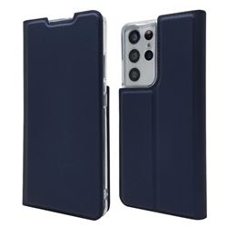 Ultra Slim Card Magnetic Automatic Suction Leather Wallet Case for Samsung Galaxy S21 Ultra - Royal Blue