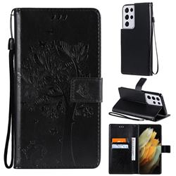 Embossing Butterfly Tree Leather Wallet Case for Samsung Galaxy S21 Ultra - Black