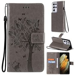 Embossing Butterfly Tree Leather Wallet Case for Samsung Galaxy S21 Ultra - Grey