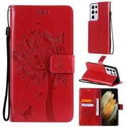 Embossing Butterfly Tree Leather Wallet Case for Samsung Galaxy S21 Ultra - Red