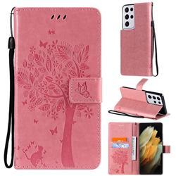 Embossing Butterfly Tree Leather Wallet Case for Samsung Galaxy S21 Ultra - Pink