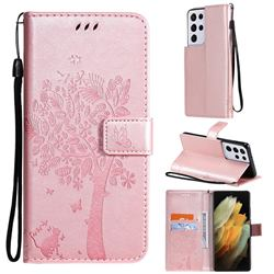 Embossing Butterfly Tree Leather Wallet Case for Samsung Galaxy S21 Ultra - Rose Pink