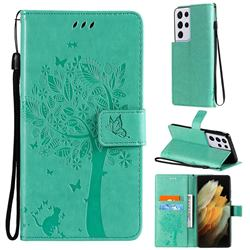 Embossing Butterfly Tree Leather Wallet Case for Samsung Galaxy S21 Ultra - Cyan