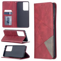 Prismatic Slim Magnetic Sucking Stitching Wallet Flip Cover for Samsung Galaxy S21 Ultra - Red