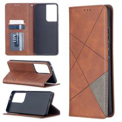 Prismatic Slim Magnetic Sucking Stitching Wallet Flip Cover for Samsung Galaxy S21 Ultra - Brown