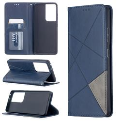 Prismatic Slim Magnetic Sucking Stitching Wallet Flip Cover for Samsung Galaxy S21 Ultra - Blue