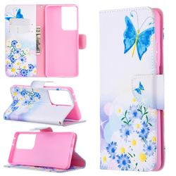 Butterflies Flowers Leather Wallet Case for Samsung Galaxy S21 Ultra