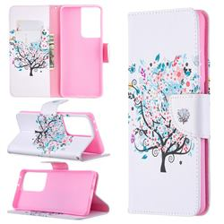 Colorful Tree Leather Wallet Case for Samsung Galaxy S21 Ultra