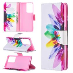Seven-color Flowers Leather Wallet Case for Samsung Galaxy S21 Ultra