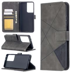 Binfen Color BF05 Prismatic Slim Wallet Flip Cover for Samsung Galaxy S21 Ultra - Gray