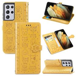 Embossing Dog Paw Kitten and Puppy Leather Wallet Case for Samsung Galaxy S21 Ultra - Yellow