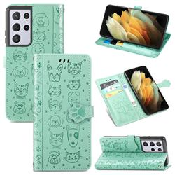 Embossing Dog Paw Kitten and Puppy Leather Wallet Case for Samsung Galaxy S21 Ultra - Green