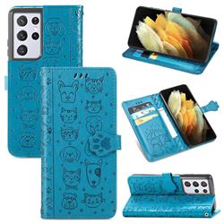 Embossing Dog Paw Kitten and Puppy Leather Wallet Case for Samsung Galaxy S21 Ultra - Blue