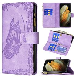 Binfen Color Imprint Vivid Butterfly Buckle Zipper Multi-function Leather Phone Wallet for Samsung Galaxy S21 Ultra - Purple