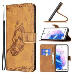 Binfen Color Imprint Vivid Butterfly Leather Wallet Case for Samsung Galaxy S21 Ultra - Brown