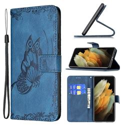 Binfen Color Imprint Vivid Butterfly Leather Wallet Case for Samsung Galaxy S21 Ultra - Blue