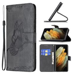 Binfen Color Imprint Vivid Butterfly Leather Wallet Case for Samsung Galaxy S21 Ultra - Black