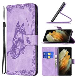 Binfen Color Imprint Vivid Butterfly Leather Wallet Case for Samsung Galaxy S21 Ultra - Purple
