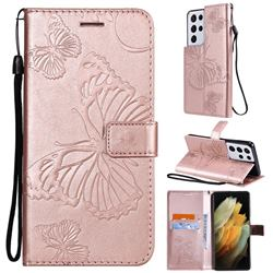 Embossing 3D Butterfly Leather Wallet Case for Samsung Galaxy S21 Ultra - Rose Gold