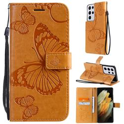 Embossing 3D Butterfly Leather Wallet Case for Samsung Galaxy S21 Ultra - Yellow