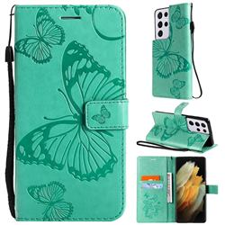 Embossing 3D Butterfly Leather Wallet Case for Samsung Galaxy S21 Ultra - Green