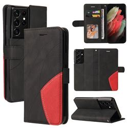 Luxury Two-color Stitching Leather Wallet Case Cover for Samsung Galaxy S21 Ultra - Black