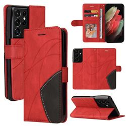 Luxury Two-color Stitching Leather Wallet Case Cover for Samsung Galaxy S21 Ultra - Red