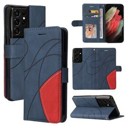 Luxury Two-color Stitching Leather Wallet Case Cover for Samsung Galaxy S21 Ultra - Blue