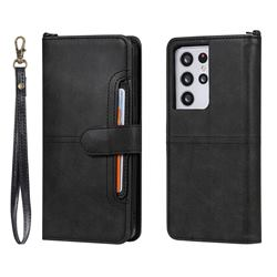 Retro Multi-functional Detachable Leather Wallet Phone Case for Samsung Galaxy S21 Ultra - Black