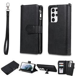 Retro Luxury Multifunction Zipper Leather Phone Wallet for Samsung Galaxy S21 Ultra - Black