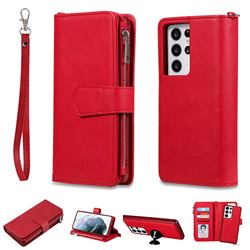 Retro Luxury Multifunction Zipper Leather Phone Wallet for Samsung Galaxy S21 Ultra - Red