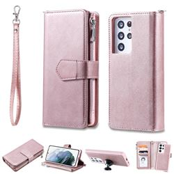 Retro Luxury Multifunction Zipper Leather Phone Wallet for Samsung Galaxy S21 Ultra - Rose Gold