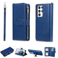 Retro Luxury Multifunction Zipper Leather Phone Wallet for Samsung Galaxy S21 Ultra - Blue