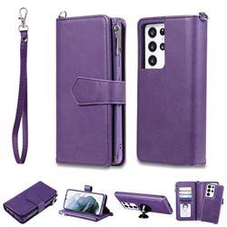 Retro Luxury Multifunction Zipper Leather Phone Wallet for Samsung Galaxy S21 Ultra - Purple