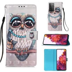 Sweet Gray Owl 3D Painted Leather Wallet Case for Samsung Galaxy S21 Ultra