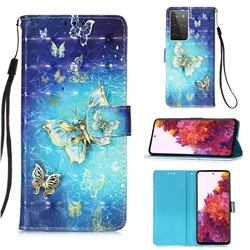 Gold Butterfly 3D Painted Leather Wallet Case for Samsung Galaxy S21 Ultra