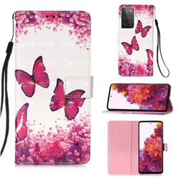Rose Butterfly 3D Painted Leather Wallet Case for Samsung Galaxy S21 Ultra