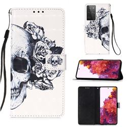 Skull Flower 3D Painted Leather Wallet Case for Samsung Galaxy S21 Ultra