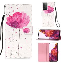 Watercolor 3D Painted Leather Wallet Case for Samsung Galaxy S21 Ultra