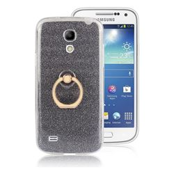 Luxury Soft TPU Glitter Back Ring Cover with 360 Rotate Finger Holder Buckle for Samsung Galaxy S4 Mini i9190 - Black