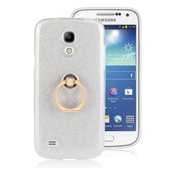 Luxury Soft TPU Glitter Back Ring Cover with 360 Rotate Finger Holder Buckle for Samsung Galaxy S4 Mini i9190 - White